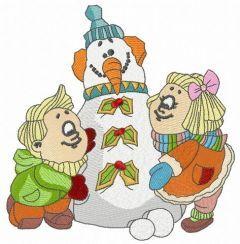 Children making snowman embroidery design
