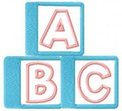Children's cubes with letters embroidery design