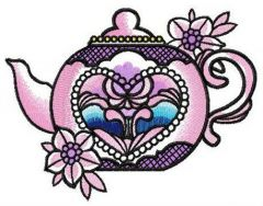 Chinese porcelain teapot embroidery design