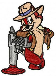 Chip with toy gun embroidery design