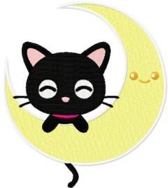 Chococat and moon embroidery design