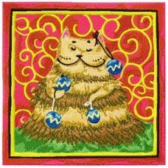A cat thinking that he is a Christmas Tree embroidery design