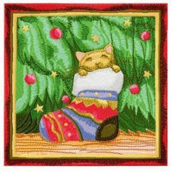 Christmas cat hid in a Christmas sock embroidery design