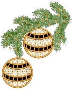 Christmas branch applique embroidery design
