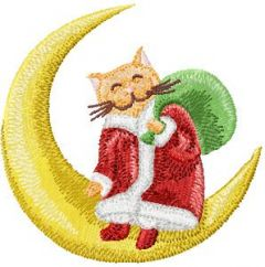 Christmas Cat sitting on a crescent moon embroidery design