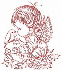 Christmas angel 4 embroidery design