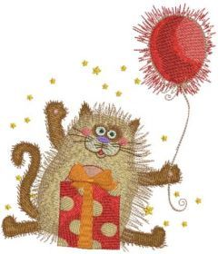 Cat with gifts and balloon embroidery design