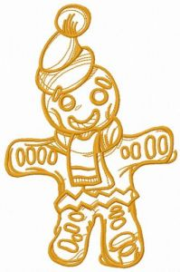 Christmas gingerbread man one color embroidery design