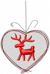 Christmas heart with deer embroidery design