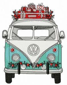 Christmas hippie van embroidery design