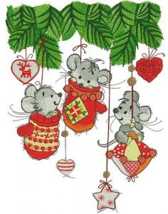 Christmas mice embroidery design
