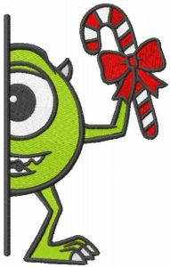 Christmas Mike outside the door embroidery design