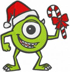 Christmas Mike Wazowski embroidery design