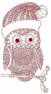 Christmas owl machine embroidery design 2