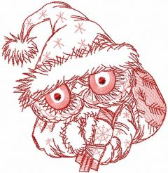 Christmas Santa owl embroidery design
