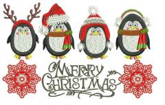 Сhristmas penguins embroidery design