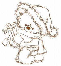 Christmas teddy bear 10 embroidery design