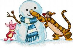 Christmas Tigger and Piglet embroidery design