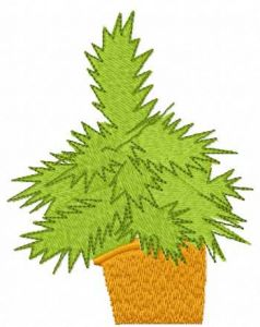 Christmas tree in a pot embroidery design