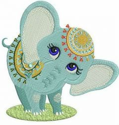 Circus elephant embroidery design
