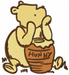 Classic pooh with honey pot embroidery design
