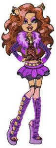 Clawdeen Wolf embroidery design