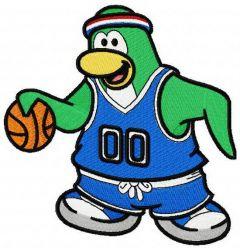 Club Penguin basketball embroidery design