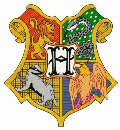 Coat of arms of Hogwarts machine embroidery design 2