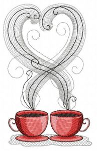Coffee cups 2 embroidery design