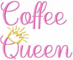 Coffee queen free embroidery design