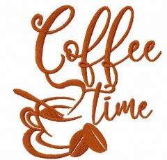 Coffee time 7 embroidery design