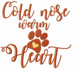 Cold nose warm heart embroidery design