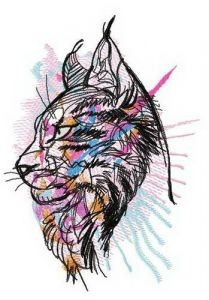 Colorful maine coon embroidery design