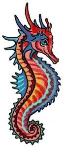 Combat sea horse embroidery design