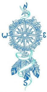 Compass dreamcatcher embroidery design
