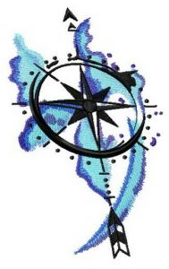 Compass spirit embroidery design