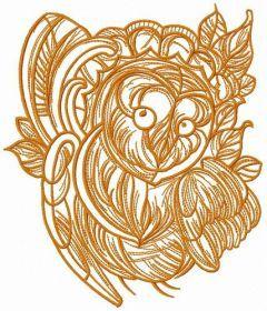 Coquet owl sketch embroidery design