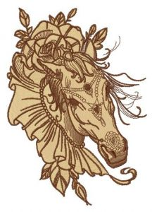 Coquette horse embroidery design