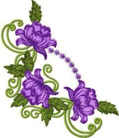 Violet Rose Corner embroidery design