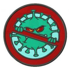 Coronavirus stop embroidery design