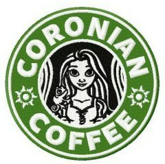 Coronian coffee embroidery design