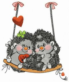 Couple of hedgehogs on swings embroidery design
