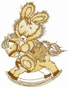 Courageous bunny embroidery design
