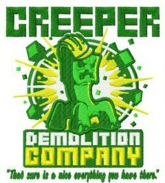 Creeper demolition company embroidery design