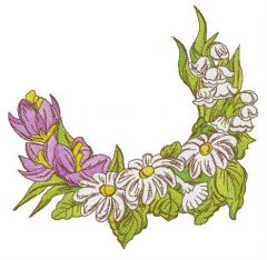Crocuses, chamomiles and lilies of the valley embroidery design