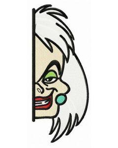 Cruella de Vil hiding embroidery design