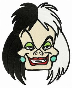 Cruella de Vil embroidery design