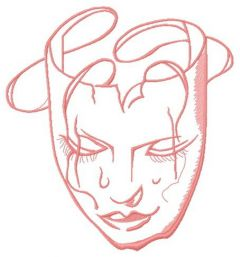 Crying woman mask embroidery design