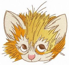 Cunning kitten's muzzle embroidery design