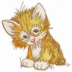 Cunning kitten embroidery design